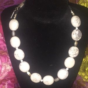 Kenneth Cole Howlite Macrame Marble Bead Necklace